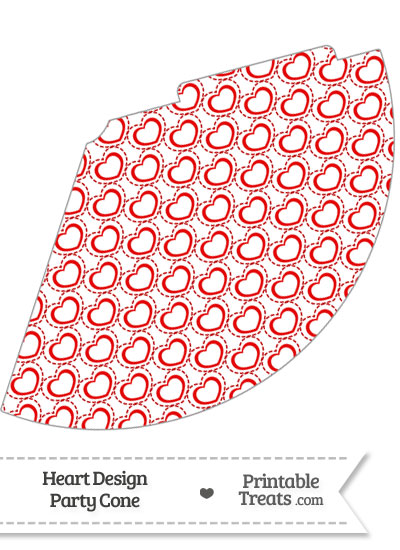 Red Heart Design Party Cone from PrintableTreats.com