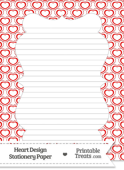 Red Heart Design Stationery Paper from PrintableTreats.com