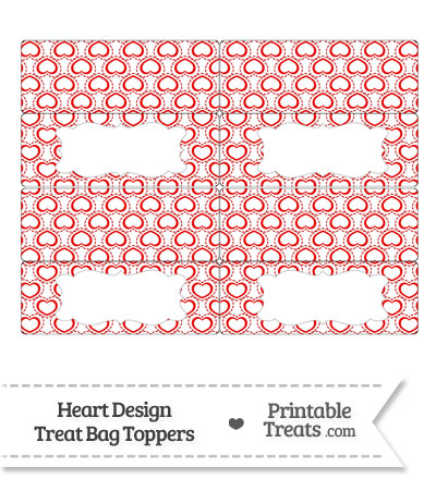 Red Heart Design Treat Bag Toppers from PrintableTreats.com