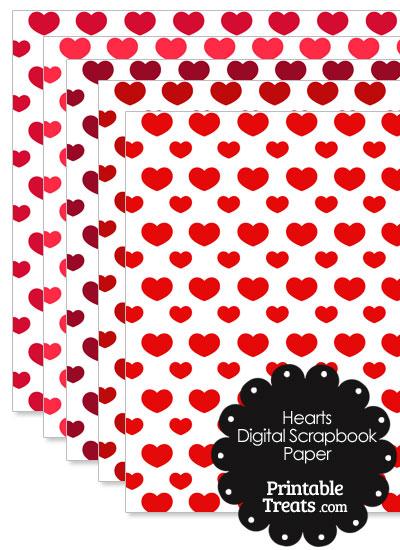 Red Hearts Digital Scrapbook Paper from PrintableTreats.com