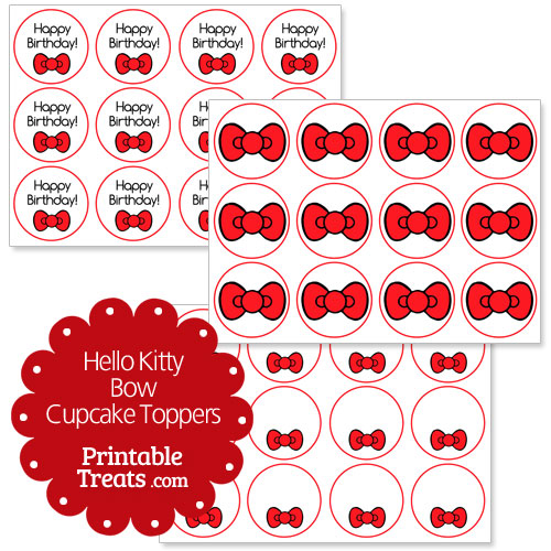 red hello kitty bow cupcake toppers