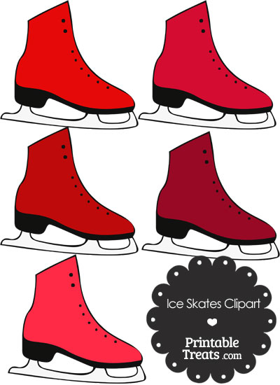 Red Ice Skates Clipart from PrintableTreats.com