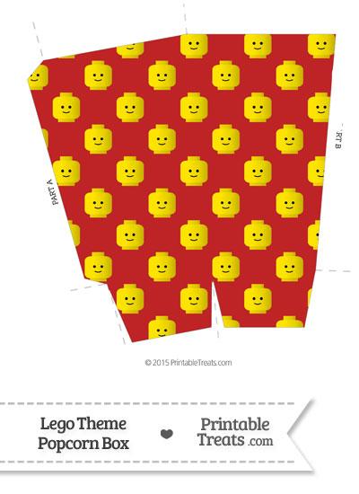 Red Lego Theme Popcorn Box from PrintableTreats.com