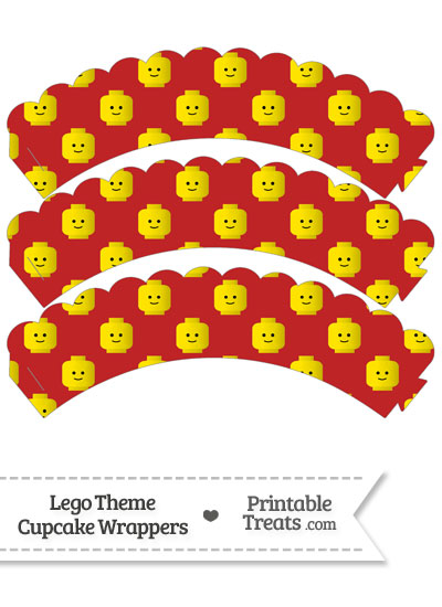 Red Lego Theme Scalloped Cupcake Wrappers from PrintableTreats.com