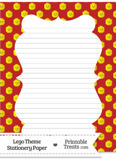 Red Lego Theme Stationery Paper from PrintableTreats.com