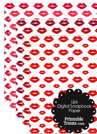 Red Lips Digital Scrapbook Paper from PrintableTreats.com