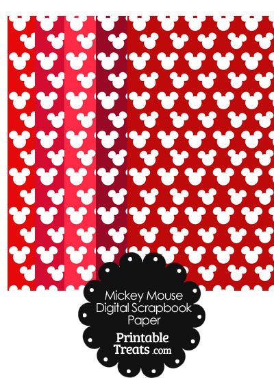 Red Mickey Mouse Head Digital Paper from PrintableTreats.com
