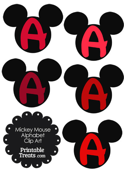 Red Mickey Mouse Head Letter A Clipart from PrintableTreats.com