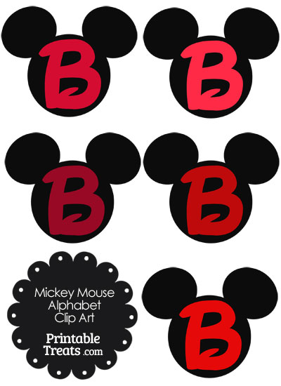 Red Mickey Mouse Head Letter B Clipart from PrintableTreats.com