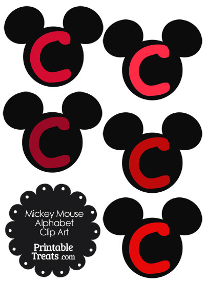 Red Mickey Mouse Head Letter C Clipart from PrintableTreats.com