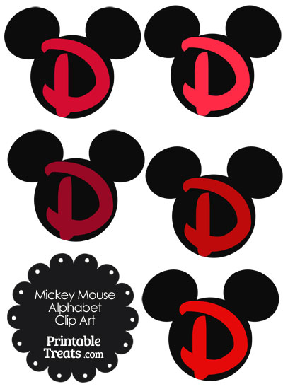 Red Mickey Mouse Head Letter D Clipart from PrintableTreats.com