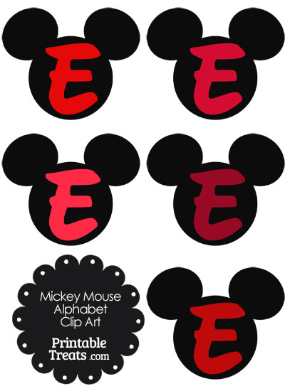 Red Mickey Mouse Head Letter E Clipart from PrintableTreats.com
