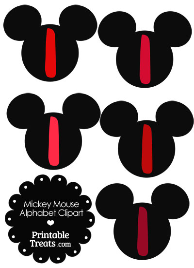 Red Mickey Mouse Head Letter I Clipart from PrintableTreats.com