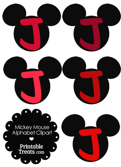 Red Mickey Mouse Head Letter J Clipart from PrintableTreats.com