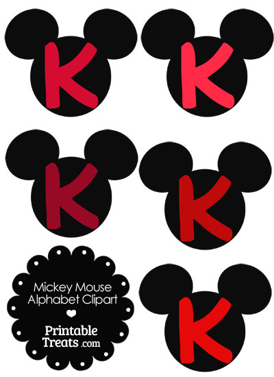Red Mickey Mouse Head Letter K Clipart from PrintableTreats.com