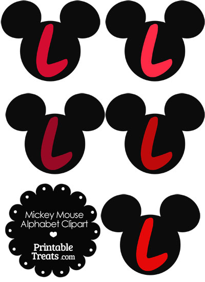 Red Mickey Mouse Head Letter L Clipart from PrintableTreats.com