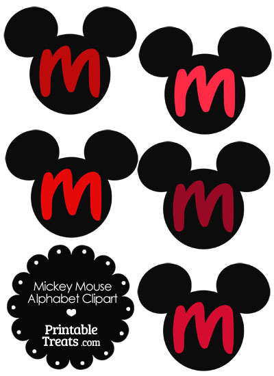Red Mickey Mouse Head Letter M Clipart from PrintableTreats.com