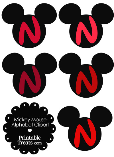Red Mickey Mouse Head Letter N Clipart from PrintableTreats.com
