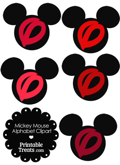 Red Mickey Mouse Head Letter O Clipart from PrintableTreats.com