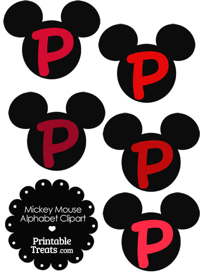 Red Mickey Mouse Head Letter P Clipart from PrintableTreats.com