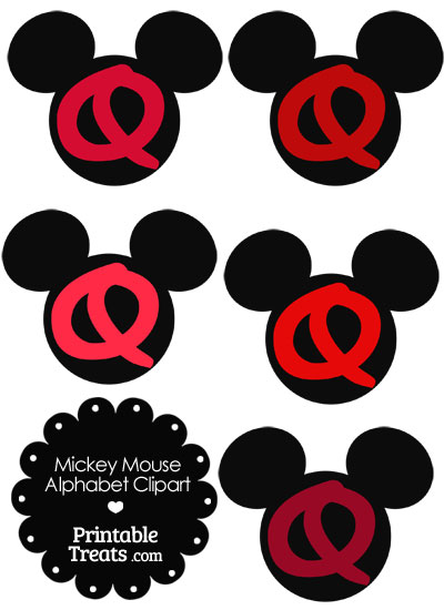 Red Mickey Mouse Head Letter Q Clipart from PrintableTreats.com
