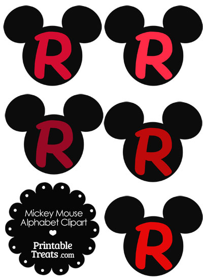 Red Mickey Mouse Head Letter R Clipart from PrintableTreats.com