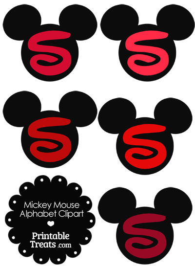 Red Mickey Mouse Head Letter S Clipart from PrintableTreats.com