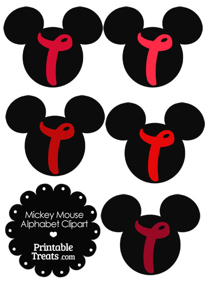 Red Mickey Mouse Head Letter T Clipart from PrintableTreats.com