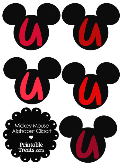 Red Mickey Mouse Head Letter U Clipart from PrintableTreats.com