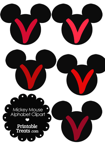 Red Mickey Mouse Head Letter V Clipart from PrintableTreats.com