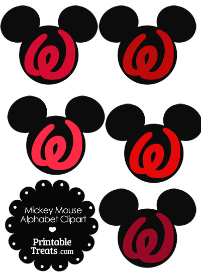 Red Mickey Mouse Head Letter W Clipart from PrintableTreats.com