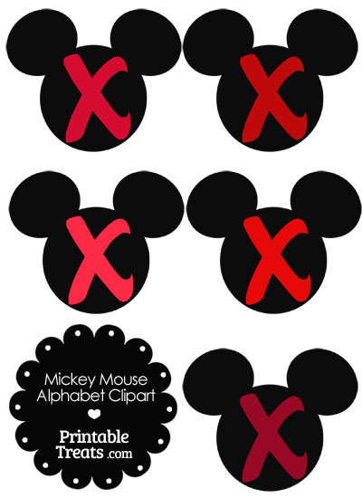 Red Mickey Mouse Head Letter X Clipart from PrintableTreats.com