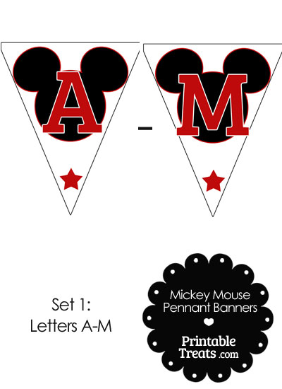 Red Mickey Mouse Pennant Banner Letters A-M from PrintableTreats.com