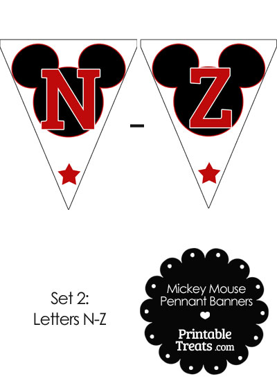 Red Mickey Mouse Pennant Banner Letters N-Z from PrintableTreats.com