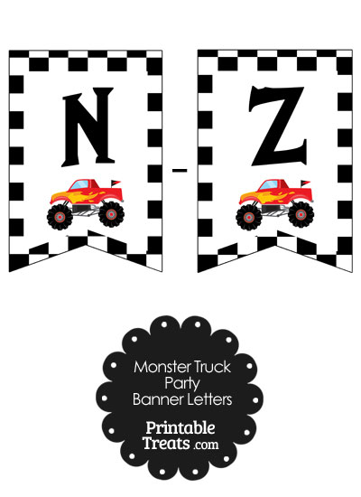 Red Monster Truck Banner Letters N-Z from PrintableTreats.com
