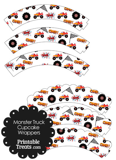 Printable Red Monster Truck Cupcake Wrappers from PrintableTreats.com