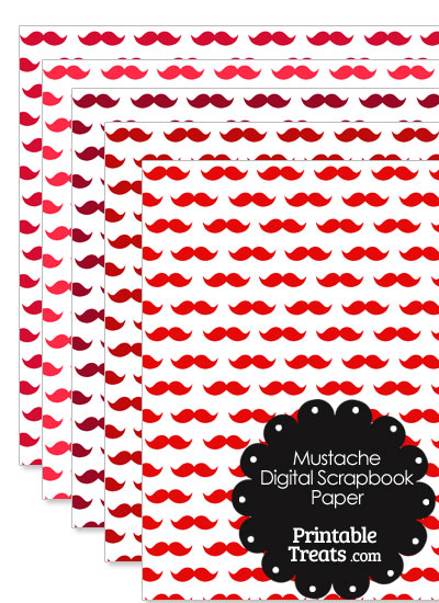 Red Mustache Digital Scrapbook Paper from PrintableTreats.com