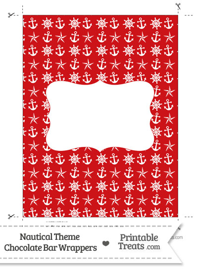 Red Nautical Chocolate Bar Wrappers from PrintableTreats.com