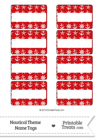 Red Nautical Name Tags from PrintableTreats.com