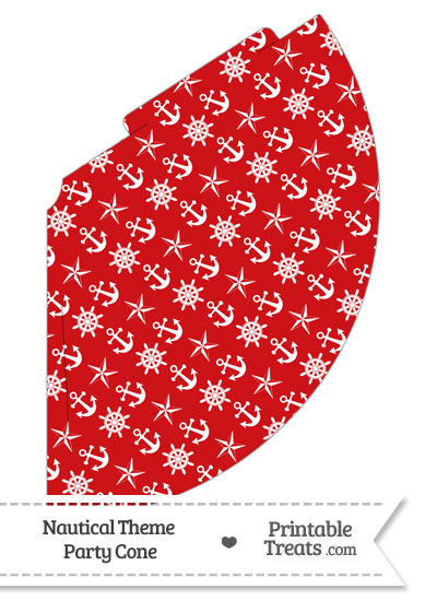 Red Nautical Party Cone from PrintableTreats.com