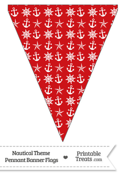 Red Nautical Pennant Banner Flag from PrintableTreats.com