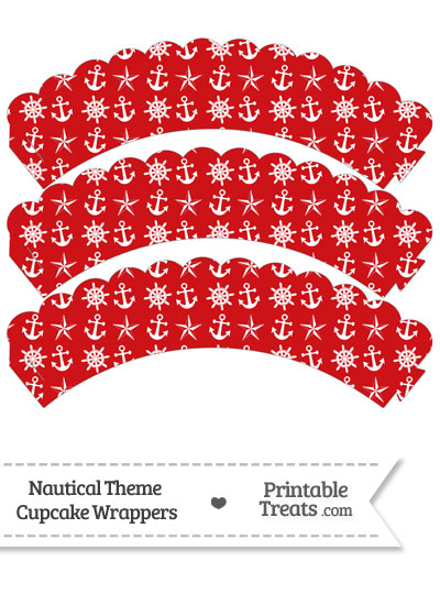 Red Nautical Scalloped Cupcake Wrappers from PrintableTreats.com