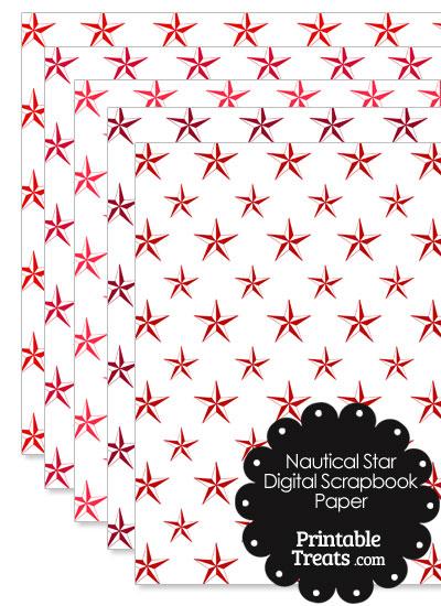 Red Nautical Star Digital Scrapbook Paper from PrintableTreats.com