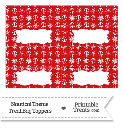 Red Nautical Treat Bag Toppers from PrintableTreats.com