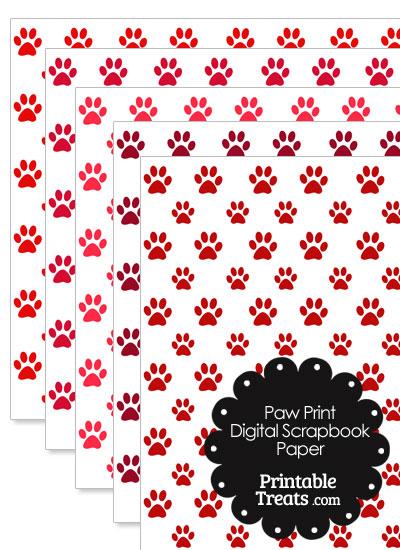 Red Paw Print Digital Scrapbook Paper from PrintableTreats.com