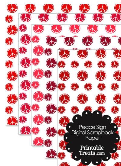 Red Peace Sign Digital Scrapbook Paper from PrintableTreats.com