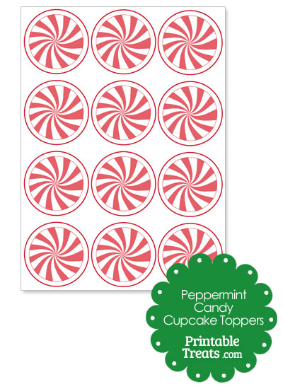 Red Peppermint Candy Cupcake Toppers from PrintableTreats.com