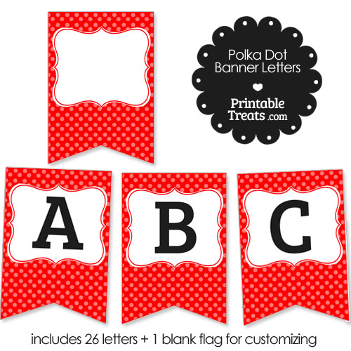 red polka dot party banner letters
