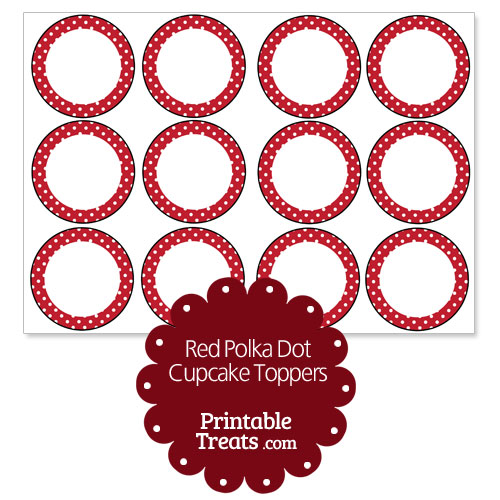 red polka dot cupcake toppers