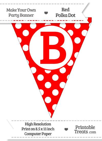 Red Polka Dot Pennant Flag Capital Letter B from PrintableTreats.com